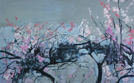 grey sky and pink blossom 30 x 48in