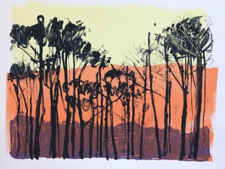 orange mountains and trees