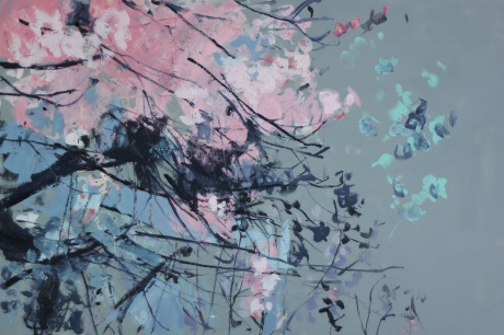 pink blossom and shadows 24 x36in