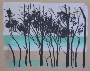 trees and blue sea