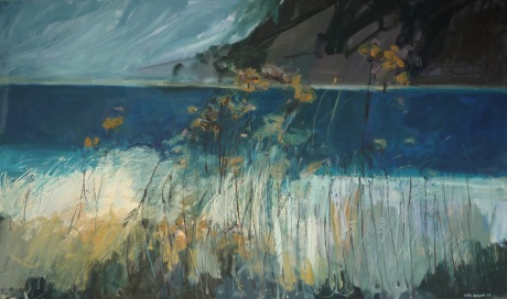 dark lake and grasses 36 x 60in