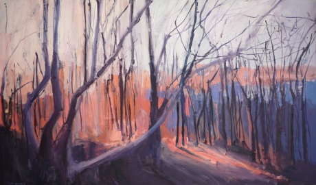 orange light through trees 36 x 60in