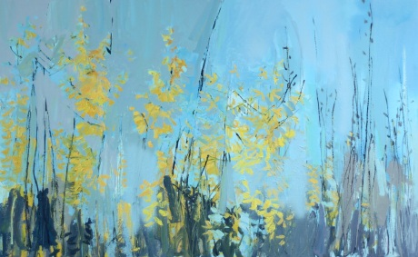 yellow blossom in sky 30 x 48in