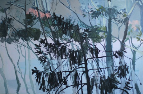 grey sea and trees 40 x 60in