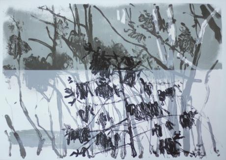 grey sea and trees 50 x 70cm
