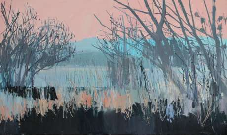 Island through the trees  36x 60in