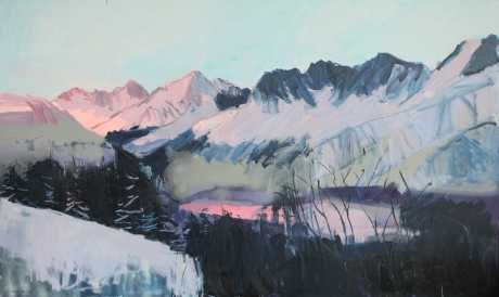 Mountain valley  36x 60in