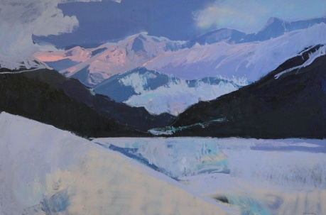 pink mountain tops and dark  40 x 60in