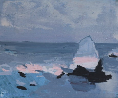 pink rocks grey sea 10 x 12in