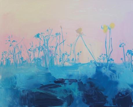blue flowers 48 x 60in