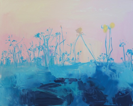blue flowers 48 x 60in