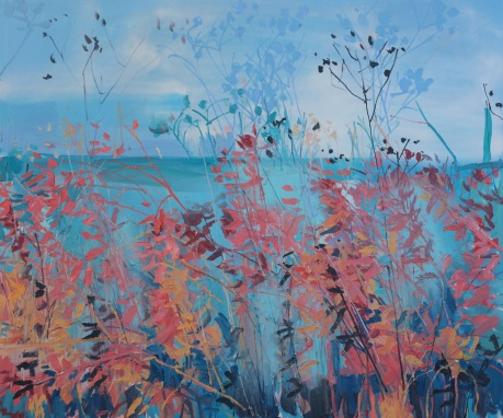 red leaves and sea 39 x 47in
