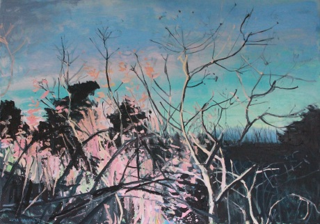 blue twilight trees   27 x 39in
