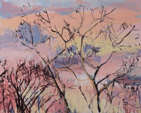 Pink sky and trees   31 x 39in