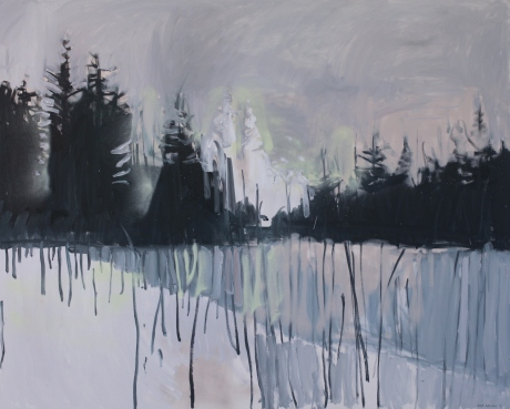 Dark trees and grey light 40 x 60in