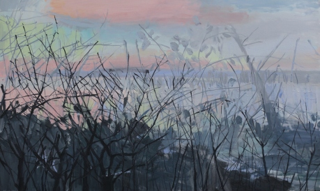 Dusk lough branches 91 x 152cm